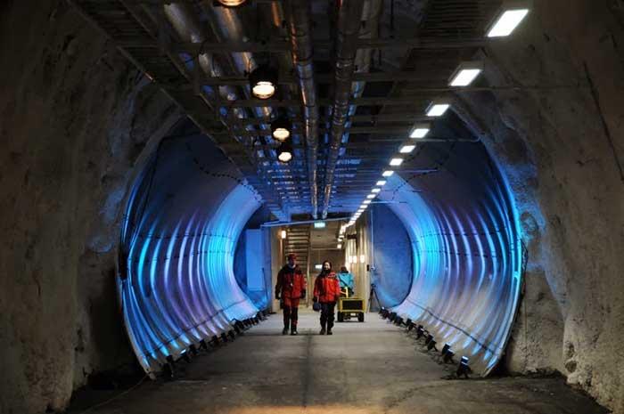 Bóveda Global de Semillas de Svalbard, tunel interior