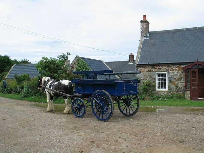 carro de caballos en la Isla de Sark, Normandia