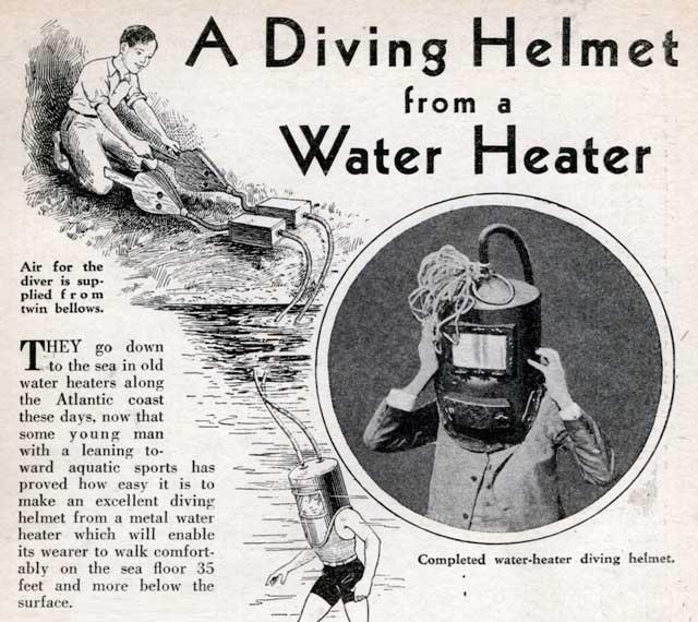 casco de buceo de un calentador de agua