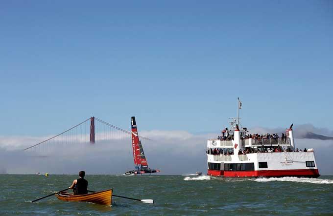 Copa América en la bahía de San Francisco desde el mar