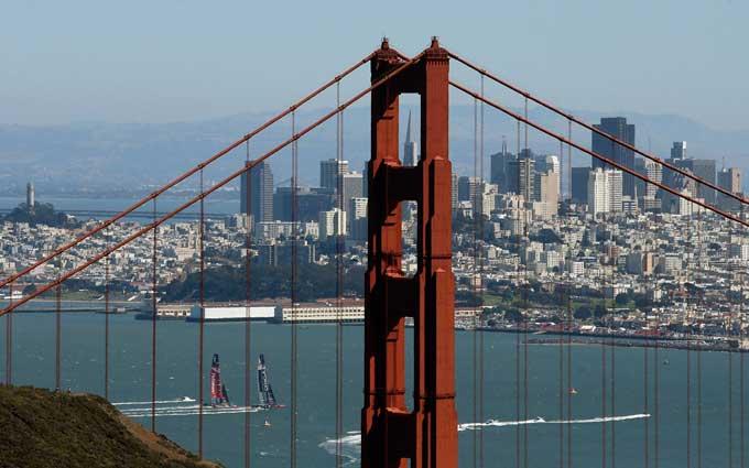 Copa América en la bahía de San Francisco desde tierra