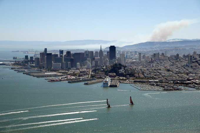 Copa América en la bahía de San Francisco desde el aire