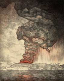 erupción del volcán Krakatoa