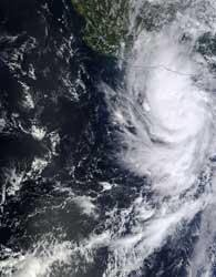 huracán Raymond desde satélite 20-10-2013