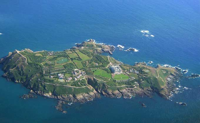 Isla de Sark, costa de Normandia - vista aérea