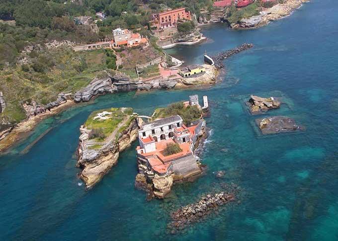 isla Gaiola, Nápoles - Italia, vista aérea
