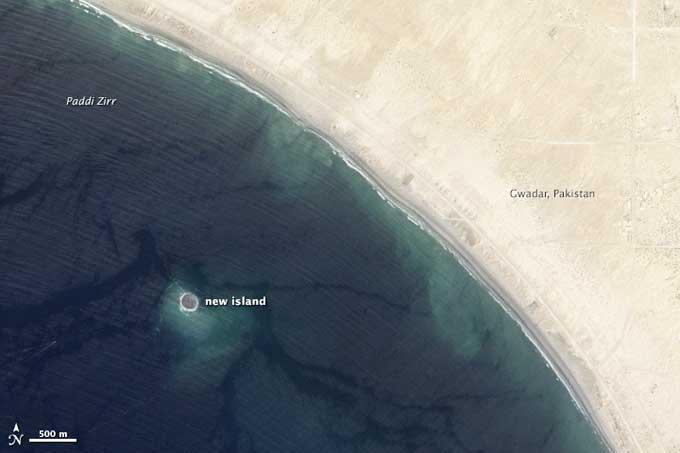 Nueva isla por el terremoto de Pakistán desde el espacio