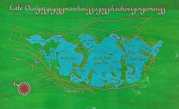 mapa del Lago Chargoggagoggmanchauggagoggchaubunagungamaugg