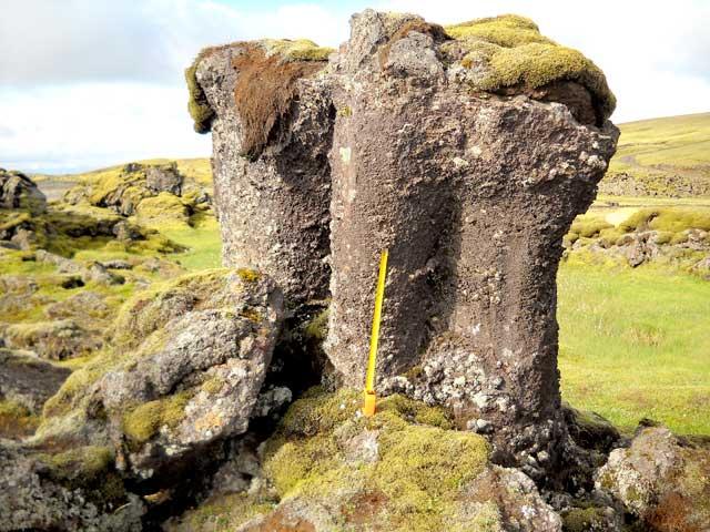 pilares de lava valle de Skaelingar, Islandia
