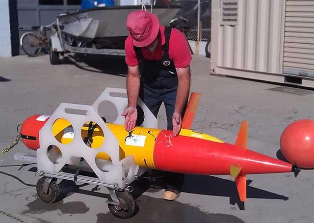 robot submarino mordido por gran tiburón blanco