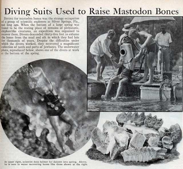 Trajes de buceo usados para recuperar huesos de mastodonte, 1933