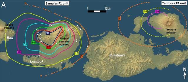 volcanes Rinjani-Samalas y Tambora, Indonesia