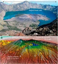 cráter volcanes Segara Anak y Rinjani-Samalas