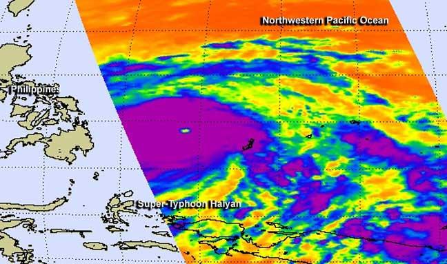temperaturas tomadas por el AIRS de la NASA del súper tifón Haiyan
