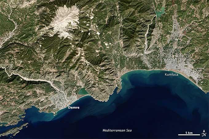 Demre, Turquía desde satélite