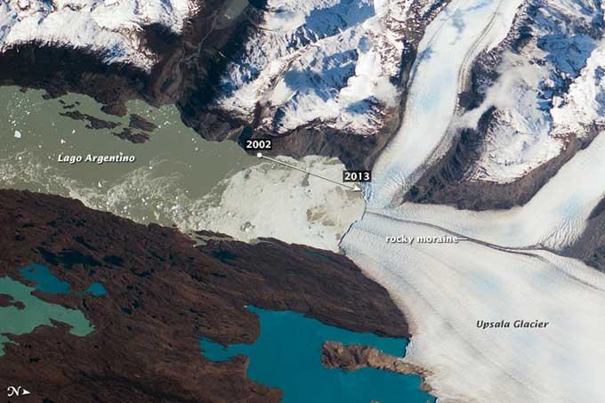 Glaciar Upsala, Patagonia, desde el espacio