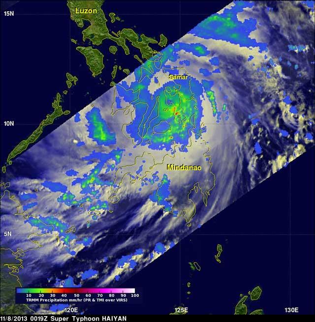 el súper tifón Haiyan el 8-11-2013 sbre la isla de isla Leyte
