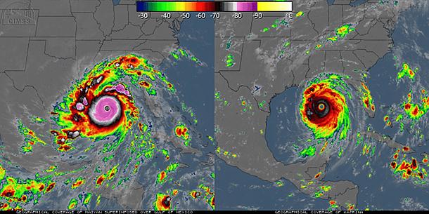 comparación longitud de las nubes Haiyan-Katrina