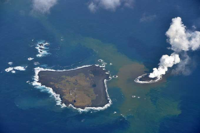 nueva isla en Nishinoshima, Japón