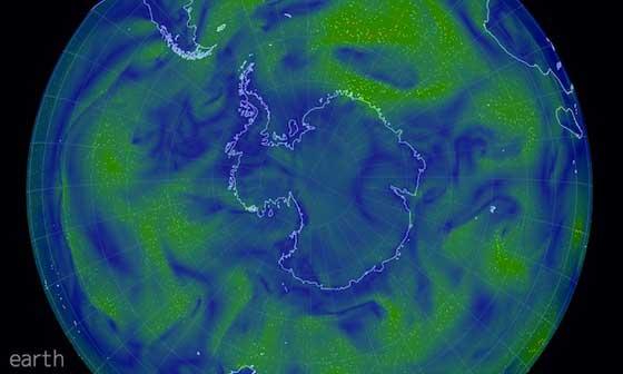 mapa eólico mundial animado de los vientos