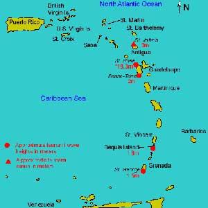mapa de las islas del Caribe