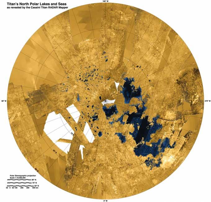 mapa de los mares y lagos de Titán, la luna de Saturno