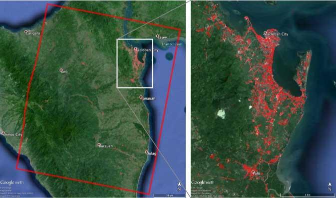 mapa de la NASA de  daños en Tacloban por el súper tifón Haiyan