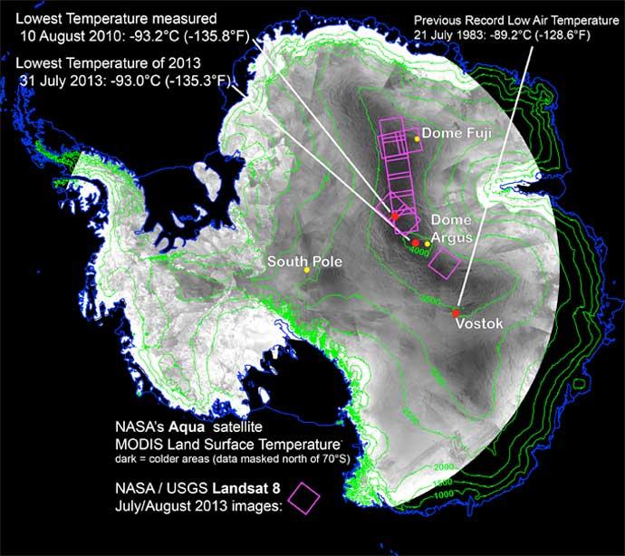 mapa de los sitios más fríos de la Tierra
