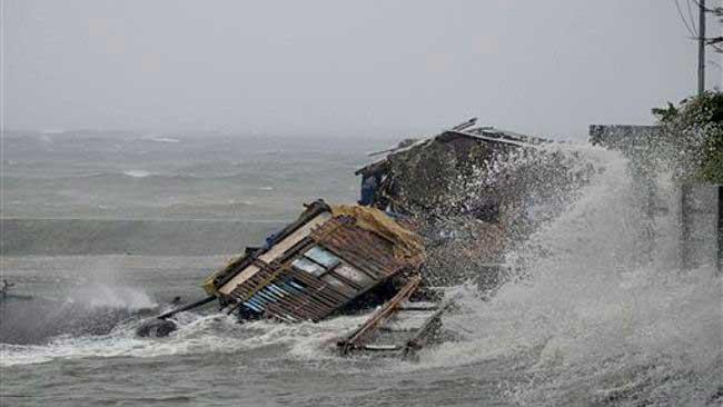 olas por el súper tifón Haiyan