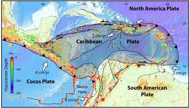 placas tectónicas del Caribe