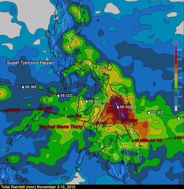 precipitación combinada súper tifón Haiyan