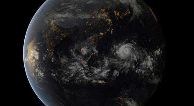 súper tifón Haiyan en el globo terráqueo