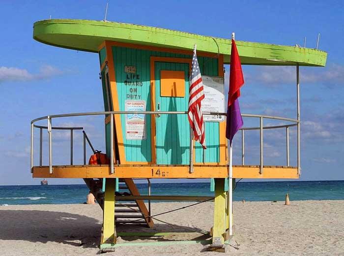 torre salvavidas en Miami Beach, Florida