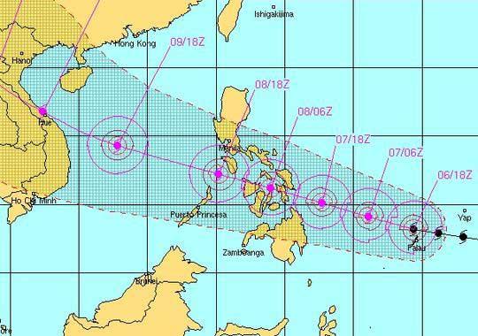 trayectoria estimada del súper tifón Haiyan