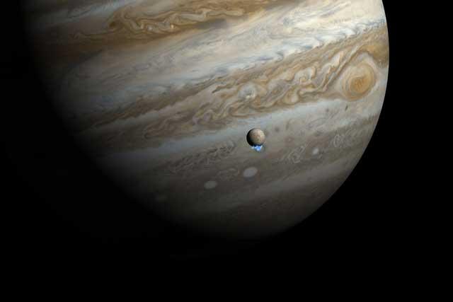 vapor de agua en Europa, la luna de Júpiter