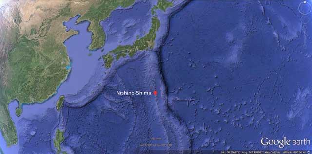 situación del volcán Nishino-shima