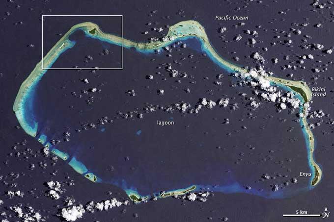 atolón Bikini desde satélite