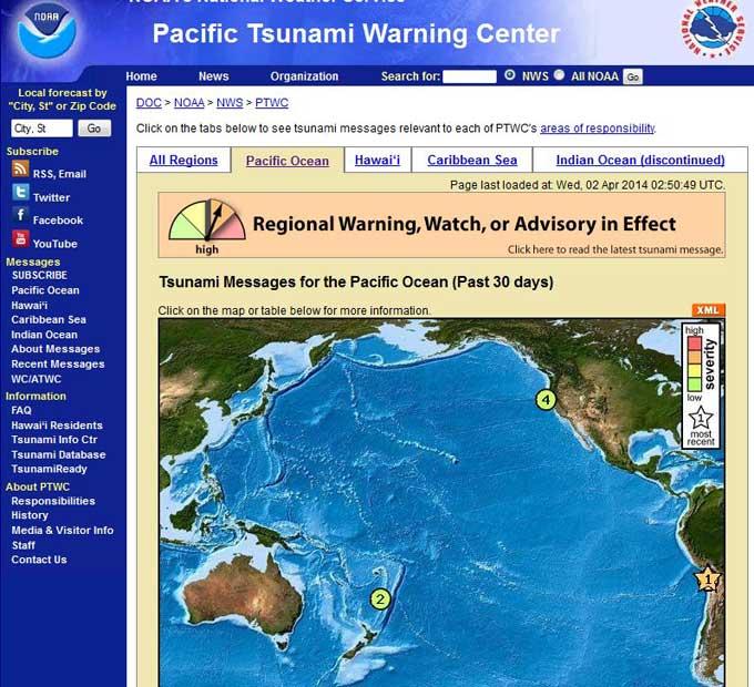 aviso tsunami NOAA costas de Chile