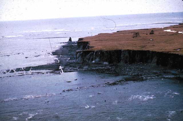 deslizamientos en la costa de Alaska en 1964