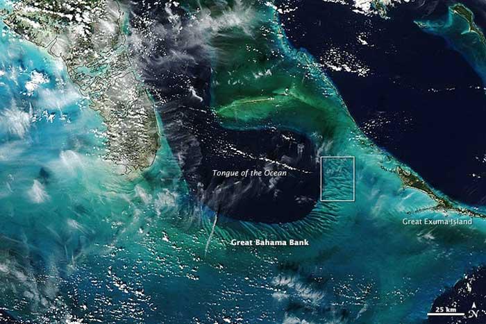 dunas submarinas de las Bahamas desde satélite