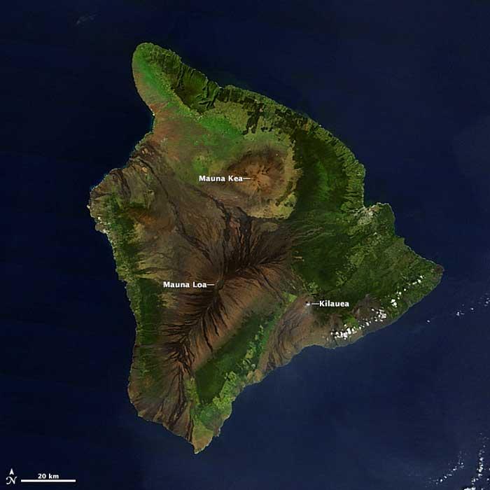 la isla de Hawái desde satélite