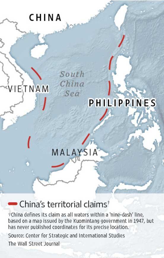 línea de nueva guiones en el mar de China, dibujo actual