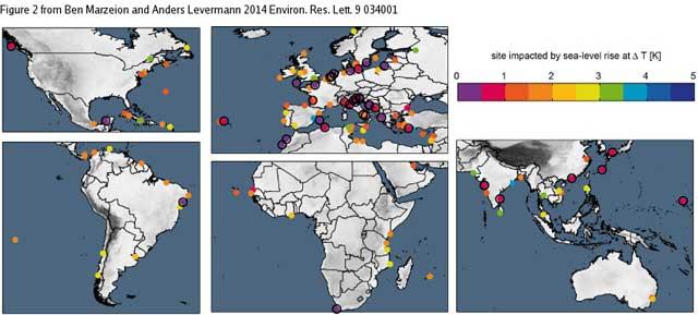lugares culturales afectados por la subida del nivel del mar