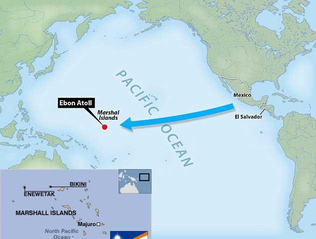 mapa de la distancia de centroamerica a las Islas Marshall