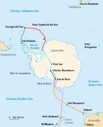 mapa de la expedición Endurance de Shackleton