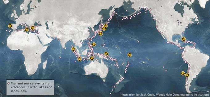 mapa recientes tsunamis y terremotos
