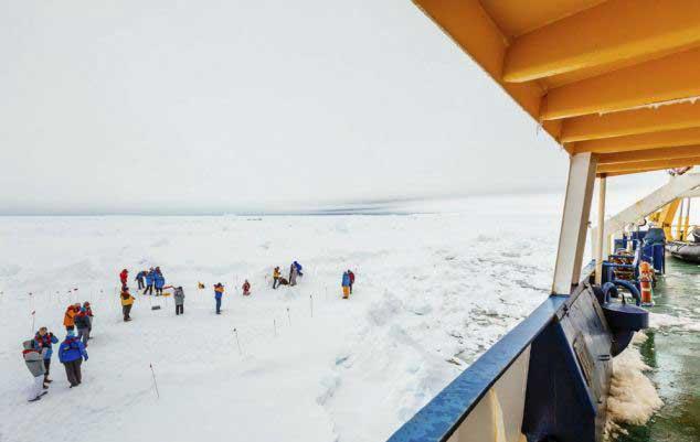 tripulantes del MV Academic Shokalskiy pasean por el hielo