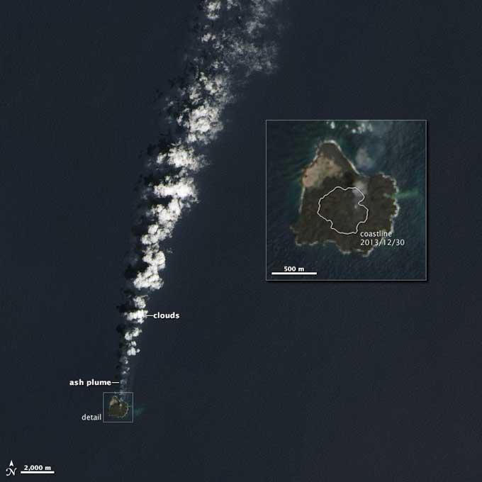 Niijima y Nishino-shima desde satélite