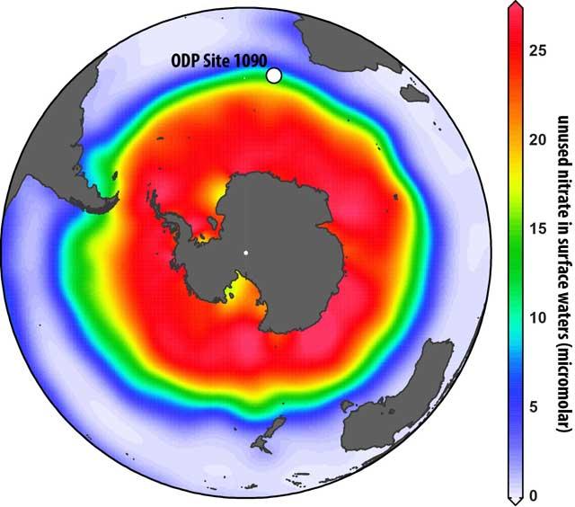 núcleo de sedimentos analizados en el Océano Austral