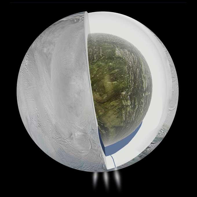 océano subterráneo dentro de Encélado, la luna de Saturno